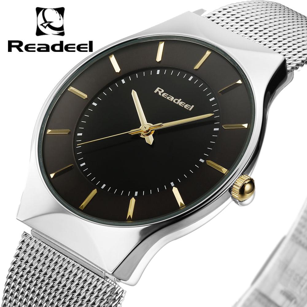 Prix pour Hommes de Montres En Acier Inoxydable Maille Bande Analogique Montre À Quartz Ultra Mince Cadran Montre De Luxe Hommes horloge mâle reloj hombre