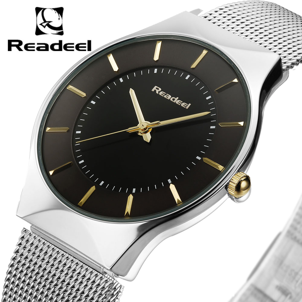 Men's Watches Stainless Steel Band Mesh Analog Quartz Wrist Watch Ultra Thin Dial Luxury Watch Men clock male reloj hombre
