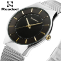 Men's Watches Stainless Steel Band Mesh Analog Quartz Wristwatch Ultra Thin Dial Luxury Watch Men clock male reloj hombre