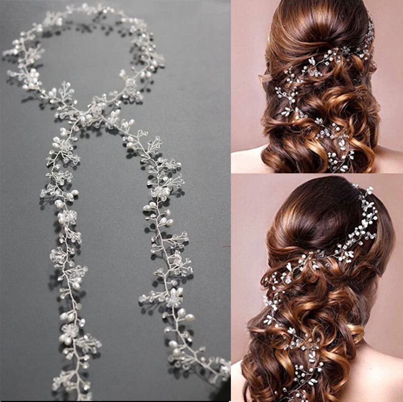 luxury leaf headband pearl crystal long bridal hairbands crown headpiece headdress wedding hair accessories bride tiara