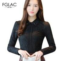 FGLAC Women Blouse Shirt Fashion Long Sleeved Lace Tops Elegant Slim Long Sleeved Lace Tops Winter