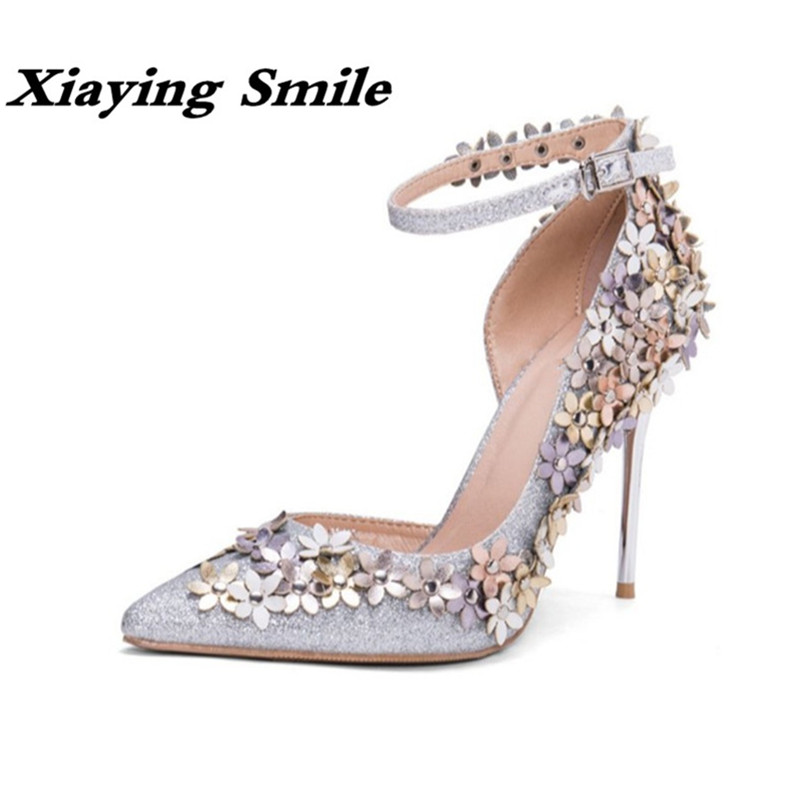Xiaying Smile Woman Pumps Women Shoes Spring Summer Thin Heel Wedding Party Elegant Pointed Toe Buckle Strap Flowers Women Shoes