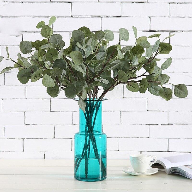 furnishing, ornaments Hair pulp leaves Artificial flowers Eucalyptus Artificial flowers Eucalyptus leaves Green plants 1pcs/se