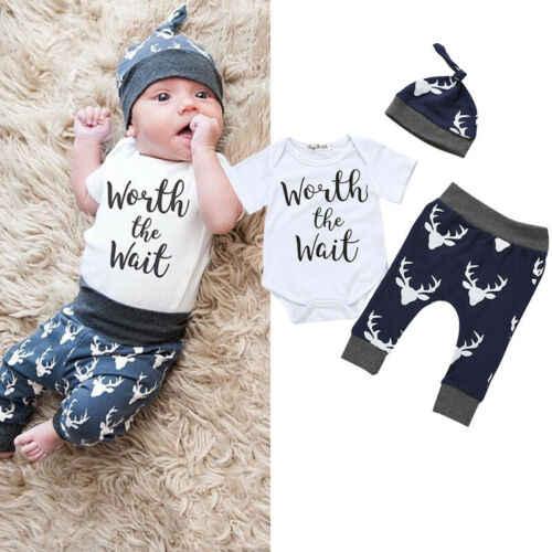 Yenidoğan Bebek Bebek Boys BEKLEMEYE değer Baskı Kıyafetler Yaz Yumuşak Pamuk Romper + Pantolon şapka seti