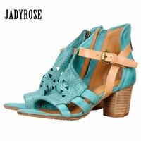 Jady Роза модные открытые женские сандалии гладиаторы высокий толстый каблук открытый носок ремни Босоножки из натуральной кожи зеленая обу