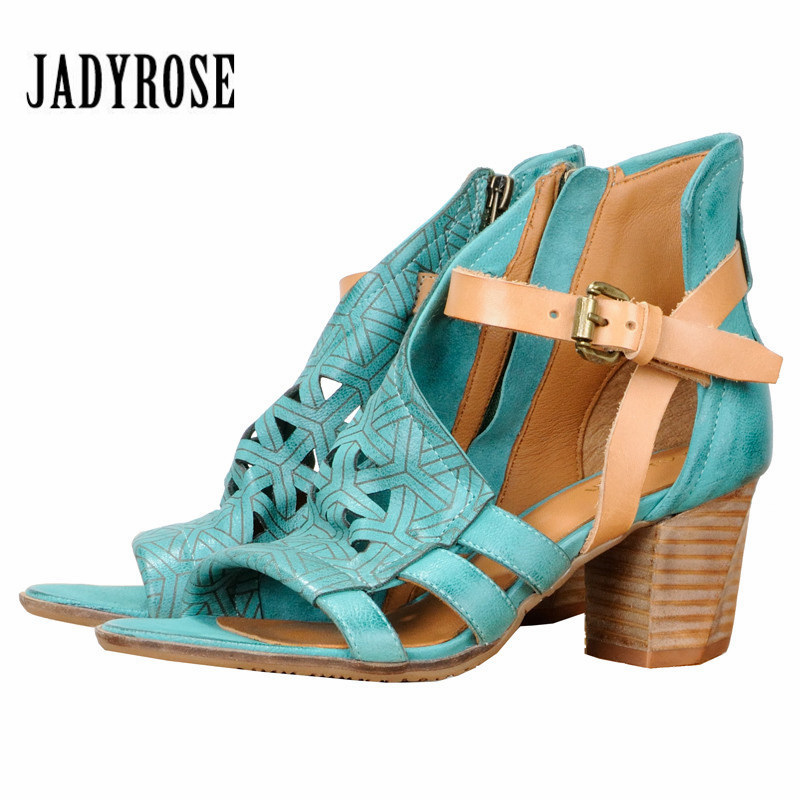 Jady Rose Fashion Hollow Out Women Gladiator Sandals Chunky High Heels Peep Toe Straps Genuine Leather Sandal Green Shoes Woman цена