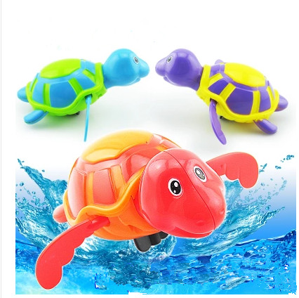 1PC New Cute cartoon animal  turtle baby bath toy swimming turtle Wound-up chain baby crawl toy