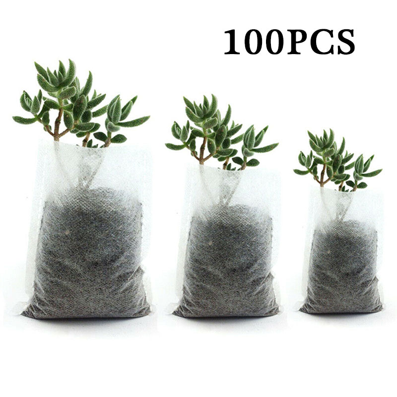 100pcs Garden Nursery Bags Plant Grow Seedling Biodegradable Fabrics Pots Raising Eco-Friendly Aeration Planting Bags Supplies