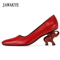JAWAKYE Red strange high heels Wedding Party Shoes Woman Sheepskin Leather 6 CM elephant Heel black silver Runway Women Pumps