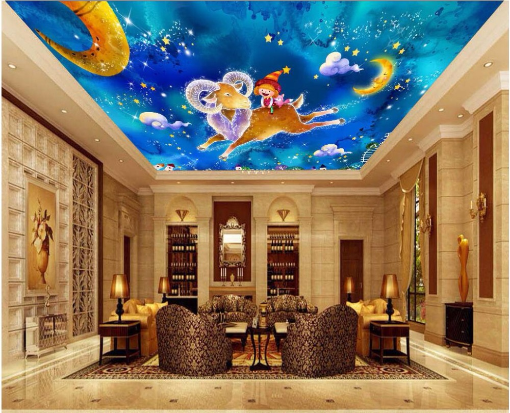Custom photo 3d ceiling murals wall paper Cartoon animal blue sky child decor painting 3d wall murals wallpaper for walls 3 d custom 3d photo wallpaper murals hd cartoon mushroom room children s bedroom background wall decoration painting wall paper