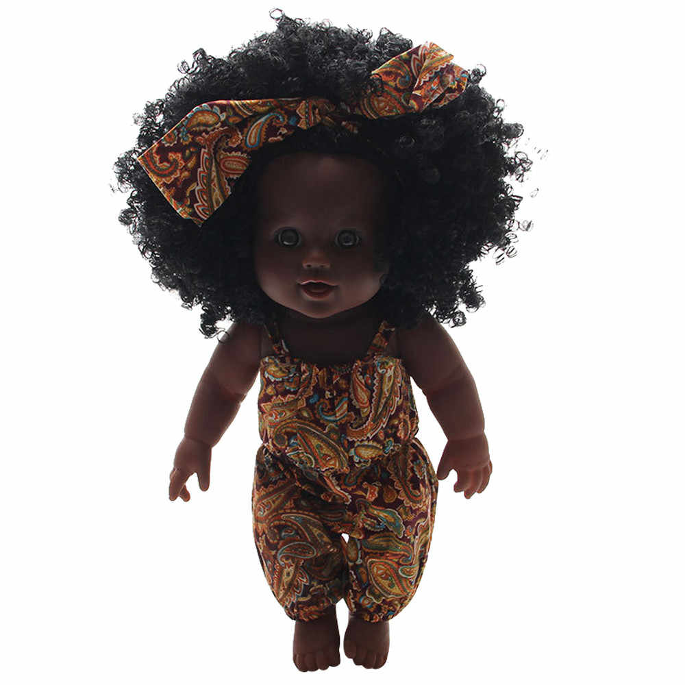 HIINST African Black Doll 30CM New Arrival Handmade Silicone Vinyl Adorable Girls Cute Dolls for Kids Toddler Reborn Baby Doll
