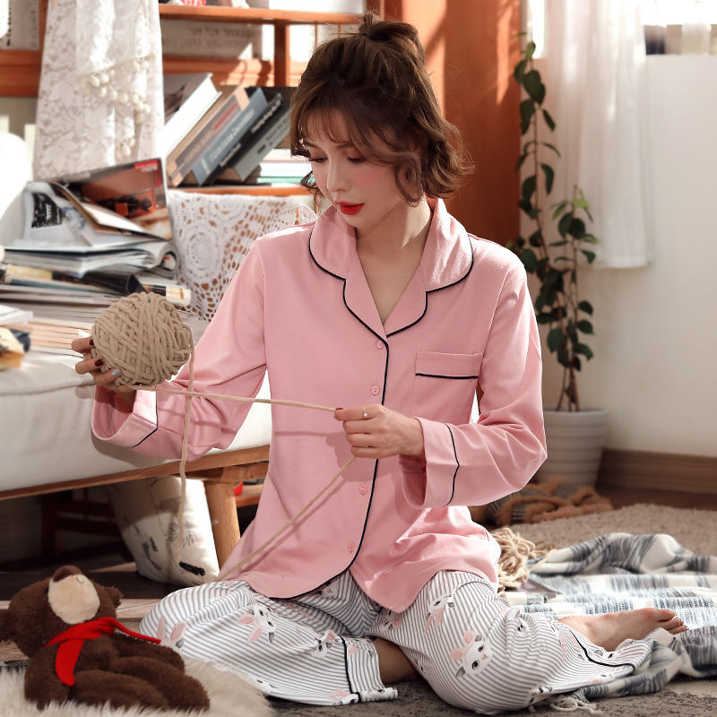 Women Clothes for Autumn winter Pajamas Sets O-Neck Sleepwear Lovely Rabbit Pijamas Mujer Long Sleeve Cotton Sexy Pyjamas Female 68