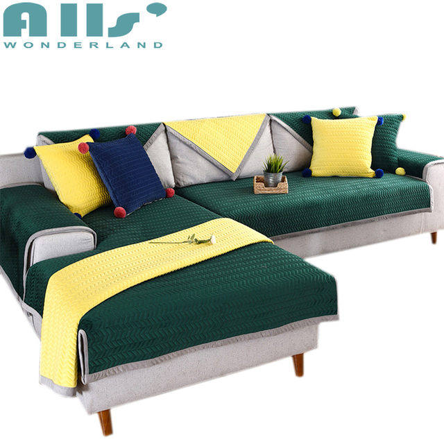 1pc Polyester Sectional Sofa Cover Modern Design Furniture Protector Brief Style Solid Color Slipcovers Soft And
