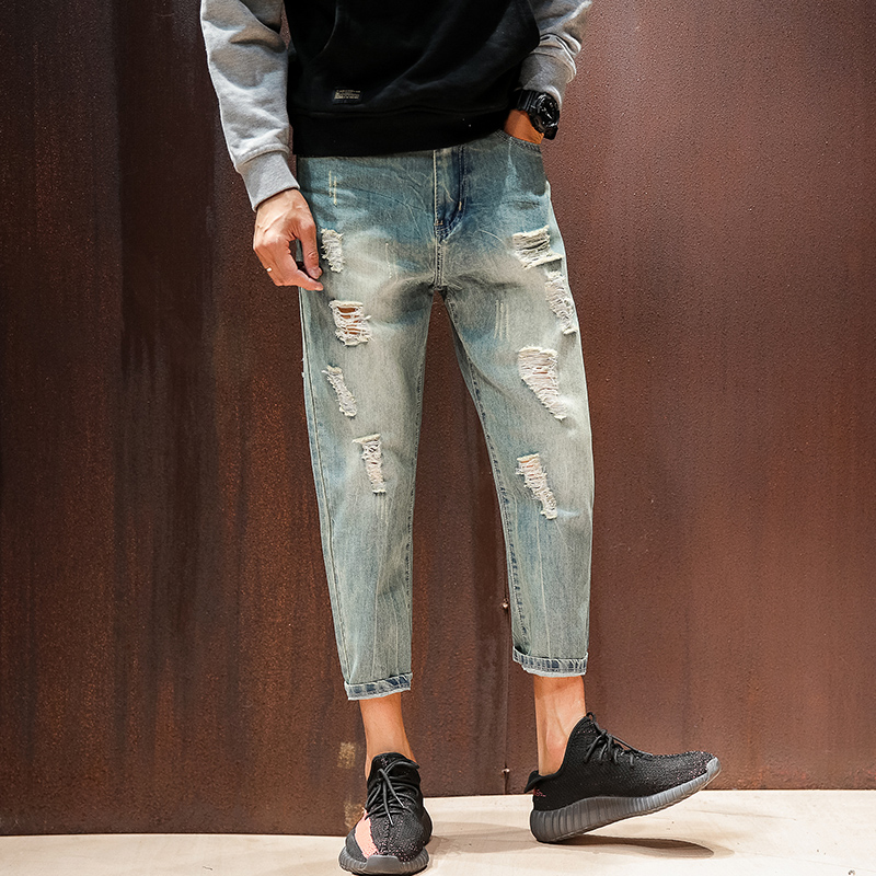 2017 Fashion Ripped Jeans Men Autumn New Ankle Length Casual Mid Waist Denim Biker Jeans Men Trousers Hot Sale Jeans Harem Pants fashion 3d printed embroidery jeans men biker ripped slim full length pants cotton cargo harem casual trousers vaqueros hombre
