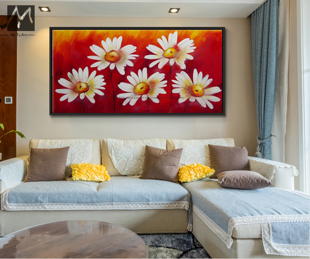 handmade large canvas art red flower cheap modern wall art canvas abstract oil painting on. Black Bedroom Furniture Sets. Home Design Ideas