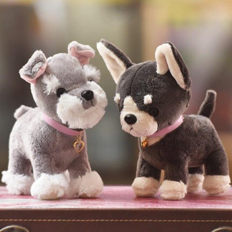 1 Piece 18 CM 25 CM Adorable Chihuahua Schnauzer Pet Dog Plush Simulation Toy Cartoon Animal Dog Creative Birthday Gift Children