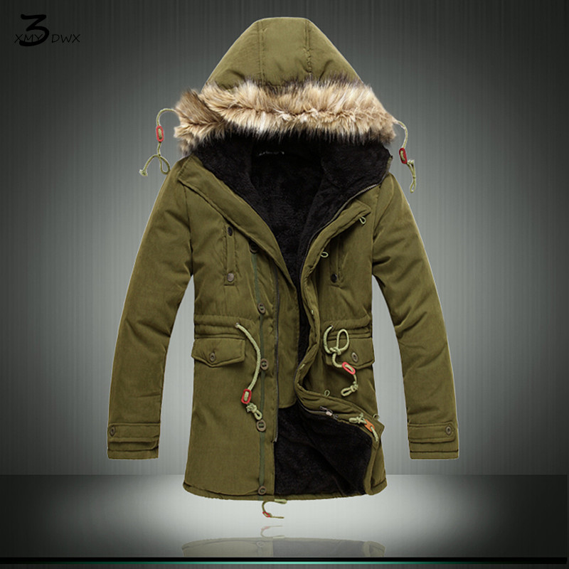 XMY3DWX Stylish men in winter to keep warm long cotton-padded clothes/Male high-grade Thickening of the warm hooded Long jacket