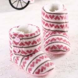 Зимние для маленьких девочек Снегоступы крючком вязать флис Обувь для младенцев шерстяная одежда для малышей детская теплая мягкая