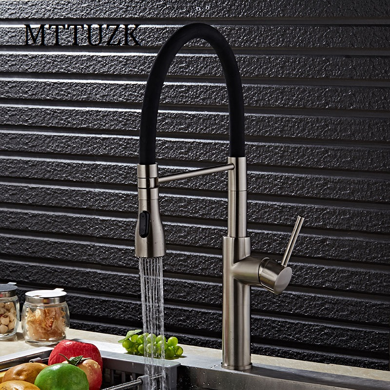 цены  MTTUZK Brushed Nickel Kitchen Sink Faucet Deck Mount Pull Out Dual Sprayer Nozzle Hot Cold Mixer Water Taps Universal faucet