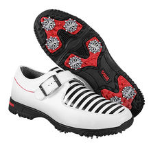 PGM Men's Golf Shoes Genuine Leather Shoes British Style Waterproof Breathable (White)