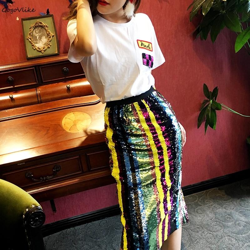 Élastique Bling Jupe Coloré Paillettes Feminino Partie Femmes Rayé Lt624s50 Haute Crayon Moulante 2018 Jupes Taille wCUtCn