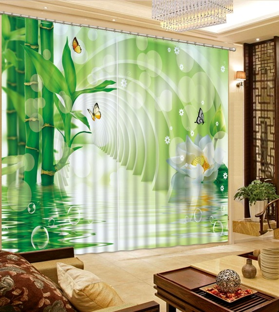 GroBartig Benutzerdefinierte Wohnzimmer Vorhänge Foto Bambus Vorhänge Schlafzimmer  Blackout 3D Foto Malerei Vorhang