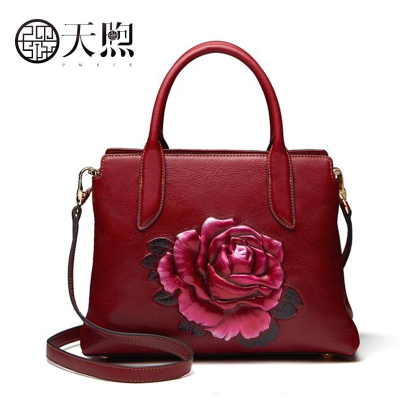 Famous brand top quality Cow Leather women bag Women bag handbag 2018 new embroidery hand bag Shoulder Messenger Bag famous brand top leather handbag bag 2018 new big bag shoulder messenger bag the first layer of leather hand bag
