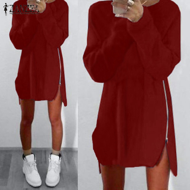 De gran tamaño 2017 zanzea mujeres cremalleras de manga larga casual loose solid mini dress ladies asimétrica larga jerseys tops vestidos