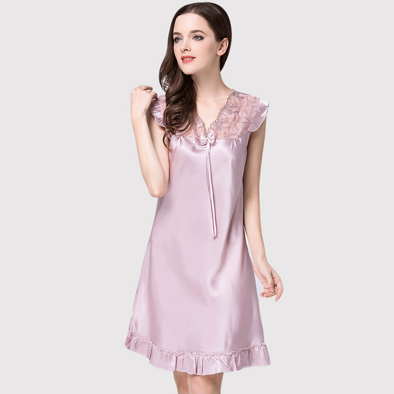 Women Silk Nightgown Summer Satin Silk Sleepshirt Woman Sleep Sexy V Neck Sleepwear Short Sleeve Comfortable Homewear