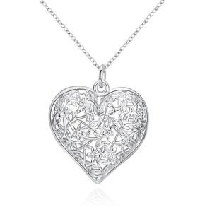 Hot sale silver plated pendant for gift Heart-shaped mesh flower frame classic Silver Pendant Femme Pendants Neckless Jewelery