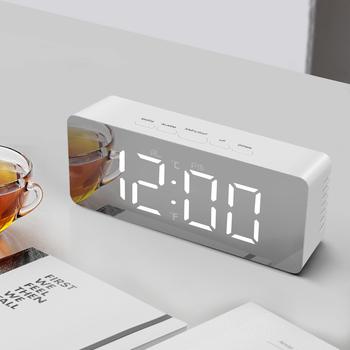 Wielofunkcyjny zegar LED cyfrowy nowoczesna efekt lustra budziki do dekoracji wnętrz biurowych elektroniczny zegar na biurko Reloj Mesa tanie i dobre opinie Z tworzywa sztucznego Kalendarze Table Watch Digital Clock Skoki ruch Funkcja drzemki 35mm Krótkie Plac Zegary biurkowe