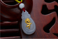 New 24K Yellow gold and Natural / Jadeite Carved Rose Flower Pendant