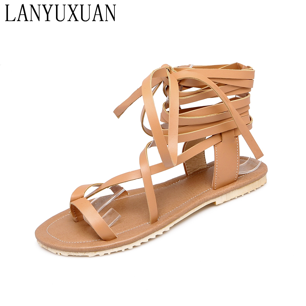 Sandalias Mujer Limited Gladiator Sandals Women Plus Size 34-52 Shoes Women Sandals 2017 Flats Sapato Feminino Summer Style 347 summer high quality women flats sandals plus size 34 43 new fashion casual ladies sandalias comfort mujer gladiator woman shoes
