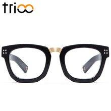 TRIOO Preto Mulher De Óculos Armação Estilo Unisex Limpar Lens Armação de óculos  Designer de Moda b52dc786ce