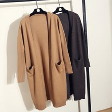 New 2018 Wool Cardigan Women Sweater Casual Coat Autumn Winter Long Cardigan Loose Long Sleeve Open Stitch Cardigans Female(China)