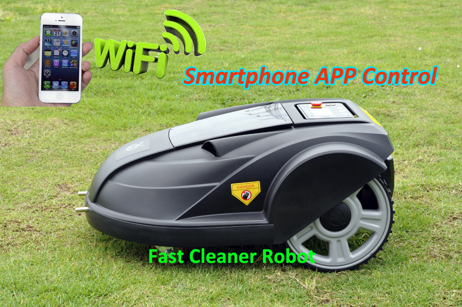 Robot Lawn Mower Updated with Newest WIFI Smartphone APP Control (Auto Recharge,Schedule,Water-proofed,Range function,Subarea newest wifi app smartphone wireless remote control lawn mower robot with water proofed charger range subarea compass functions
