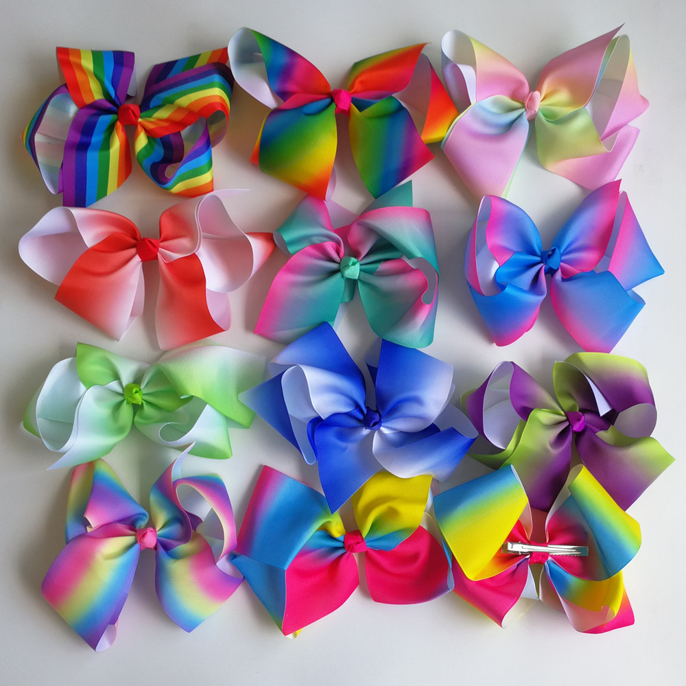 Least JO JO 8'' grosgrain ribbon hair bow With alligator hair clips boutique rainbows bow girls hairbow For Teens Gift 11pcs/lot boutique hairbow girls grosgrain ribbon cute rabbit ears hair clips bowknot crystal hairpins fashion hair accessories for female