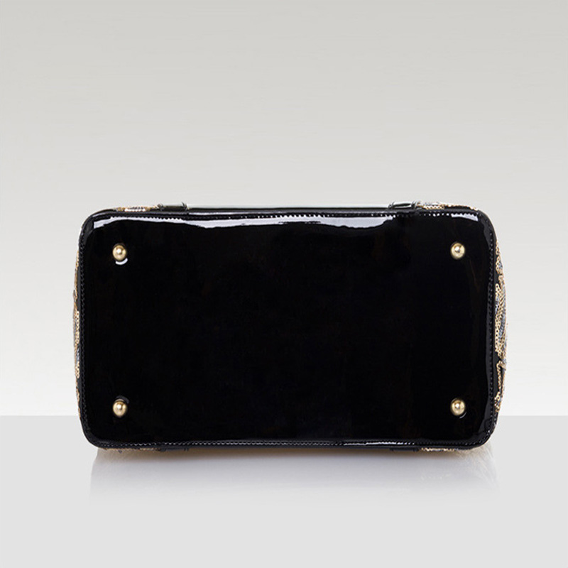 2017 Women's Bag Ladies Luxury Patent Leather Shoulder Bag Flower Printing Black Crossbody Female Clutch Handbag Sac A Main S038