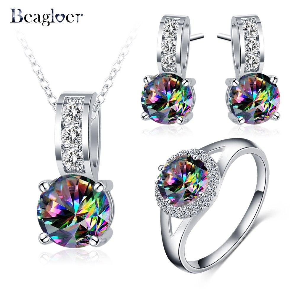 Beagloer New Arrival Glamorous Rainbow Místico Cubic Zircon Cor de Jóias de Prata Conjuntos Brincos Pingente Anel Para Mulheres Partido V156