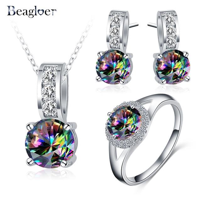 Beagloer New Arrival Glamorous Rainbow Mystic Cubic Zircon Silver Color Jewelry