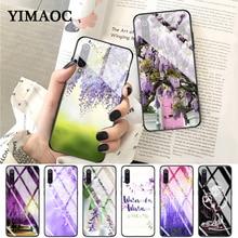 YIMAOC Wisteria Flowers Night Glass Case for Xiaomi Redmi 4X 6A note 5 6 7 Pro Mi 8 9 Lite A1 A2 F1