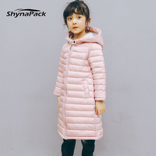 longer and lighter! Winter Fashion  Long Down jackets for age 3-9 Children Girl Hooded coat Parka Warm Bebe Baby Girl's