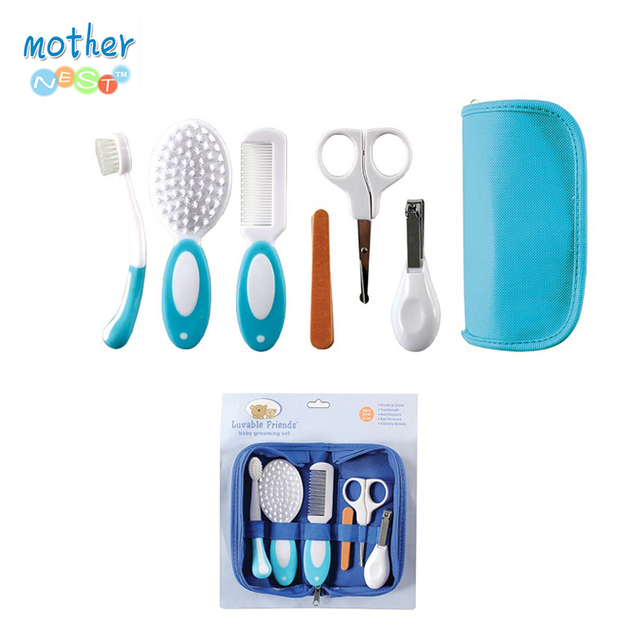 6pcs/set Baby Grooming Care Manicure Set Toothbrush Hair Brush Comb Nail File Boards Nail Scissors Nail Clipper