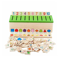 Chanycore Baby Learning Educational Wooden Arithmetic Toys Box Digital Cartoon Blocks Matching Sorting Enlightenment Gifts 4030
