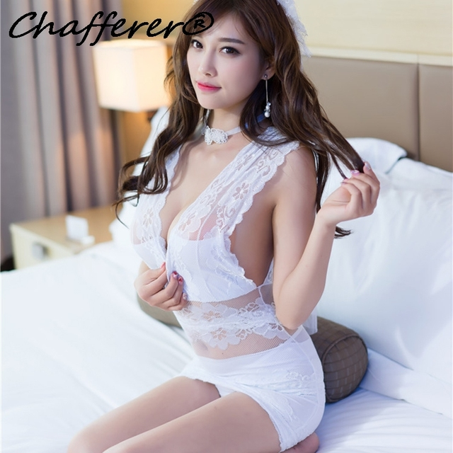 836f68f1c51 Chafferer Sexy Bridal Lingerie Perspective Underwear Ladies White Lace  Gauze Sets Cute Girl New Adult Cosplay Uniforms Costumes