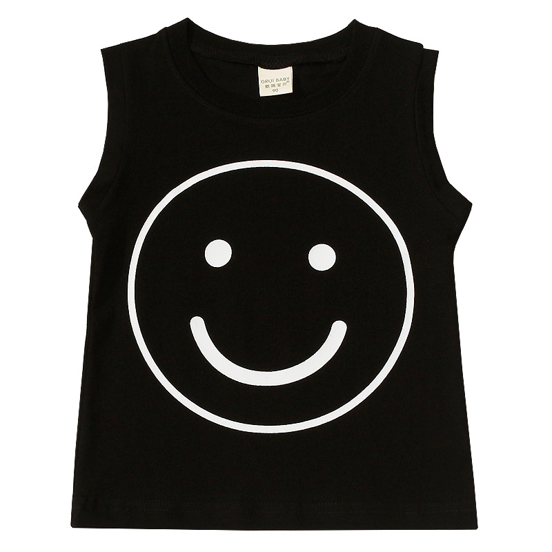 Vest Knitted Sleeveless T-Shirt Smiling-Face Girls Baby Boys Summer New Bottom And 1234