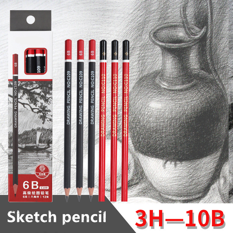 Sketch Pencil HB 2B 3B 4B 5B 6B 8B 10B 2H 3H Log Drawing Pencil Office School Learning Pencil