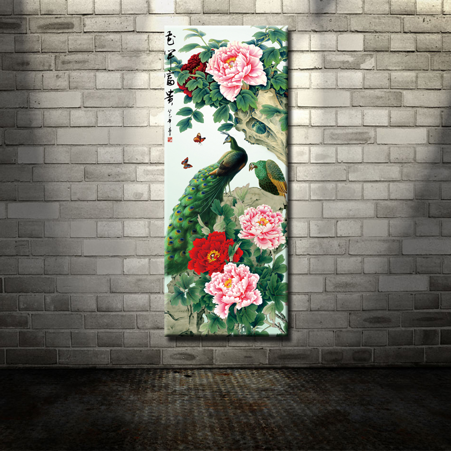 cuadros modernos salon arte de la lona grande barato chino tradicional estilo florero del pavo real