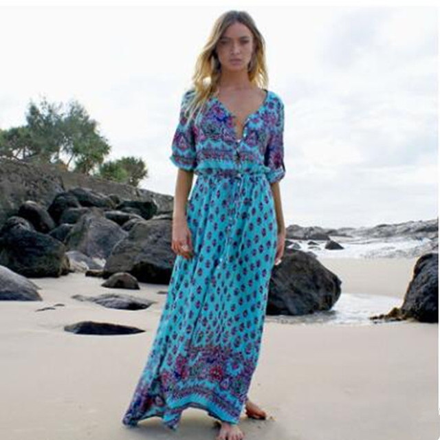4ff25822df1 Plus Size 2019 Summer Long Maxi Dress Women Sexy V Neck Sundress Boho  Floral Print Half Sleeve Loose Beach Dresses Vestidos. Anniversary Sale ...