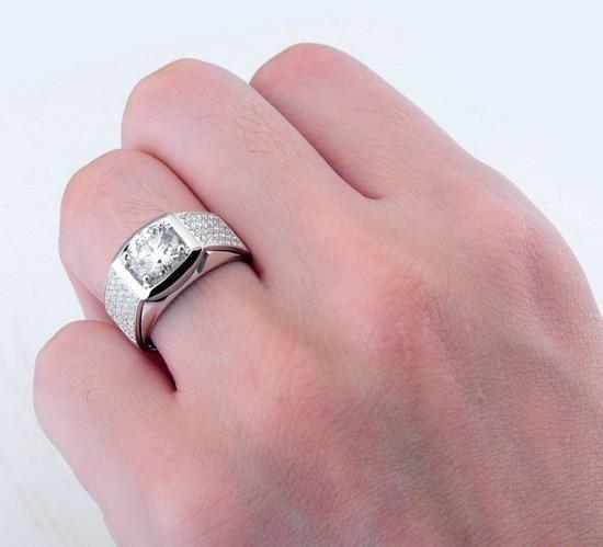 5CT Men Ring Gold 14K Male Ring Male Genuine Gold 14K Engagement ...